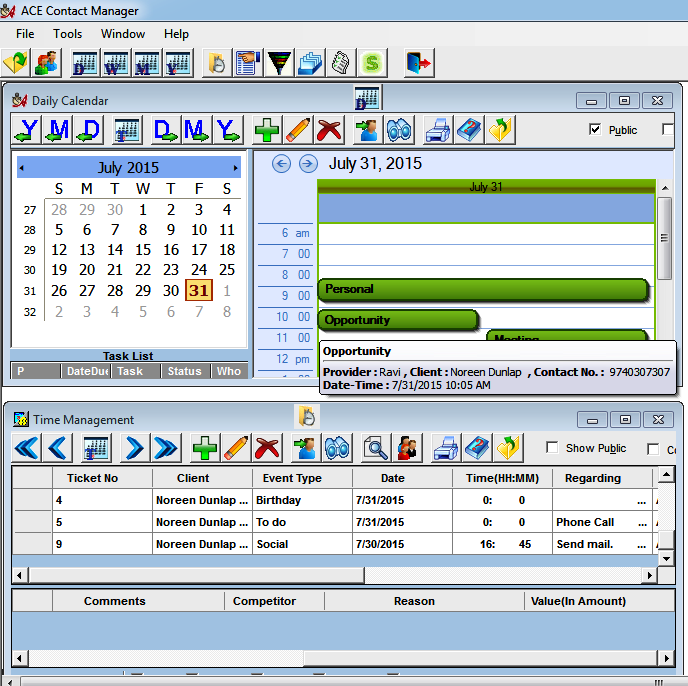Appointment Scheduling in ACE Contact Manager CRM Software