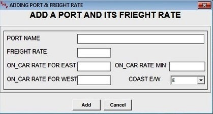 Adding port and  freight rate